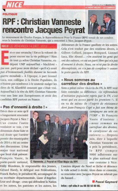 Quand Christian Vanneste rencontre Jacques Peyrat… dans Politique presse1
