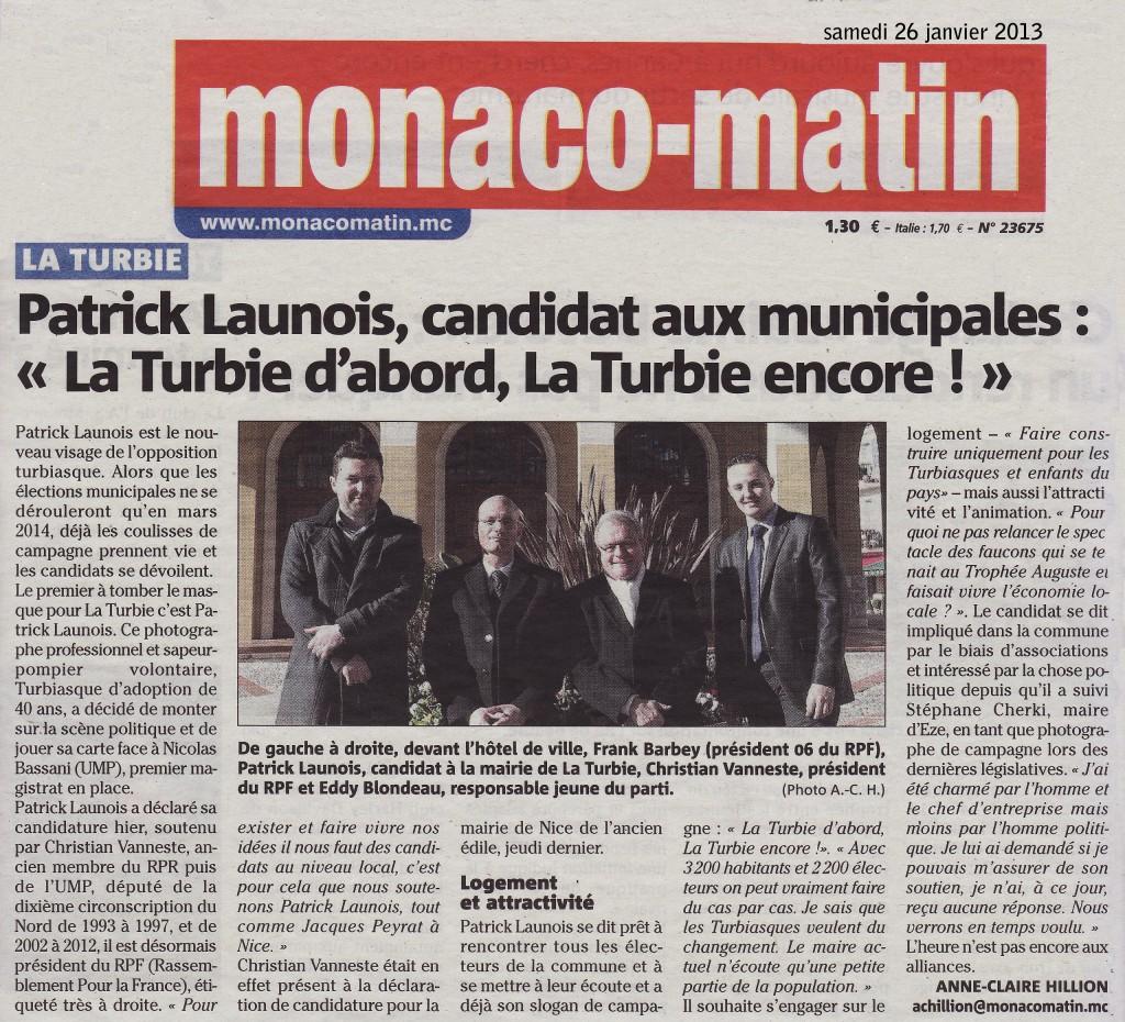 Candidature de Patrick Launois aux municipales. dans Politique presse2